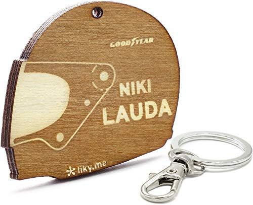 LIKY® Niki Lauda Casco Formula 1 - Portachiavi Originali in legno inciso idee regalo per la festa del papà appassionati di motociclette uomo donna compleanno hobby pendente borsa zaino