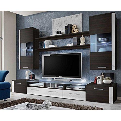 AC-Déco Ensemble Mural - Fresh - 1 Meuble TV - 2 vitrines Verticales - 2 étagères - wengé et Blanc - LED