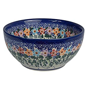 Traditional Polish Pottery, Handcrafted Ceramic Salad or Cereal Bowl 800 ml (d.16cm), Boleslawiec Style Pattern, M.702.Daisy