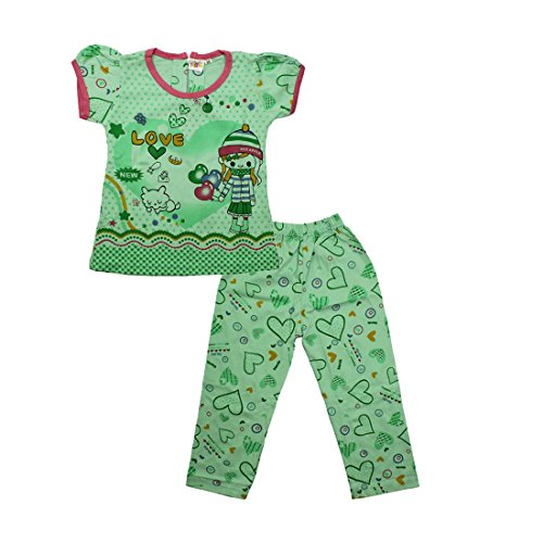 Kid's Care Printed Girls' Night Suit(Green)