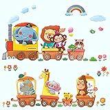 DECOWALL DA-1406A Trenes de Animales Vinilo Pegatinas Decorativas Adhesiva Pared Dormitorio Salón Guardería Habitación Infantiles Niños Bebés(Grande)