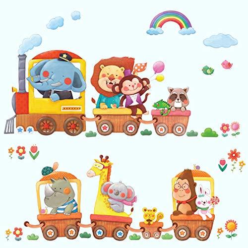 erzug Zug Autos Tiere Wandtattoo Wandsticker Wandaufkleber Wanddeko für Wohnzimmer Schlafzimmer Kinderzimmer ()