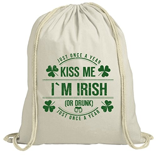 Irland St. Patrick's Day natur Turnbeutel Gym Bag Kiss Me I'm Irish Natur