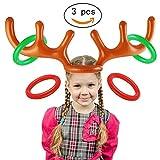 LLL (3 Unids) Fiesta De Navidad PVC Inflable Reno Asta Anillo Toss Games, Familia Niños Oficina Divertido Juego De Suministros De Navidad