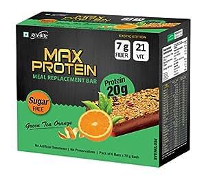 RiteBite Max Protein Green Tea Orange Bars 420g - Pack of 6 (70g x 6)