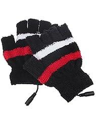 Dedo medio guantes de rayas de peluche USB calefacción calentador de manos guantes de invierno cálido portátil con USB manoplas, negro