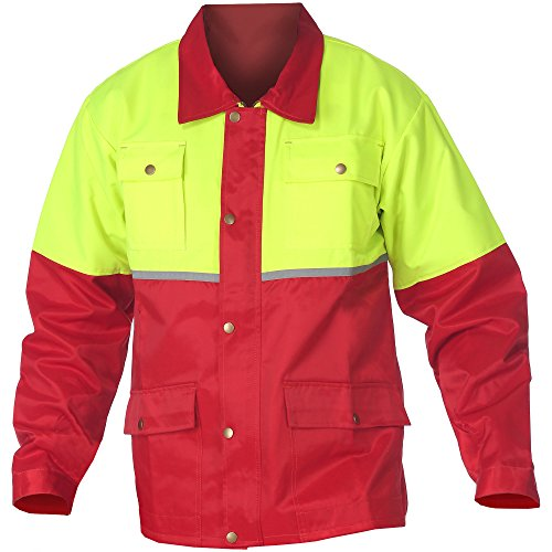 forstjacken WOODSafe Forstjacke Rot/Gelb - Arbeitsjacke für die Forst mit Rückenbelüftung (54-56)