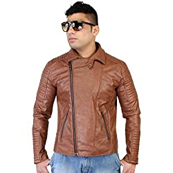 Caveliro Mens Tan Sideways Zip Faux Leather Biker Jacket