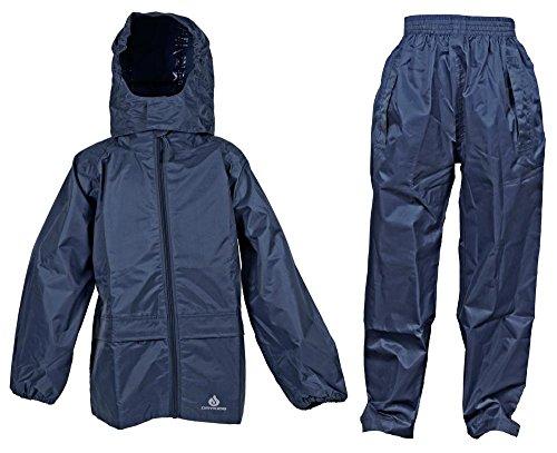 Dry Kids wasserdichtes 2er-Set Regenjacke und Regenhose, aus Polyester, reflektierend, Navy Blau, geeignet für Jungen und Mädchen, ab 11 bis 12 Jahren