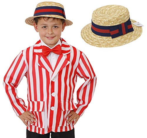 Mary Poppins Childrens Fancy Dress Kostüm - ILOVEFANCYDRESS ® KINDER ROT-WEISS-GESTREIFTER BLAZER MIT