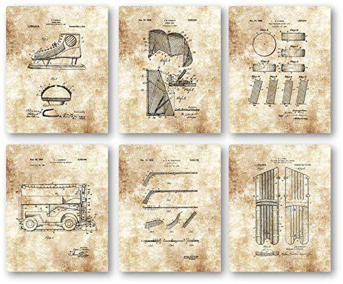 Original Eishockey Patent Artwork Zeichnungen - Set von 6 8 x 10 ungerahmten Drucken, tolles Geschenk für Hockeyspieler und Trainer, Fans und Sammler, Spindzimmer und Mancave Decor -