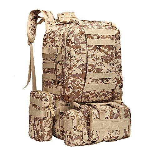 Zaino borsa combinata con 3molle smontabile Bags/militare, zaino militare, zaino militare, zaino militare, camouflage zaino, zaino tattico per campeggio, trekking 55L, Camouflage-3 Camouflage-1