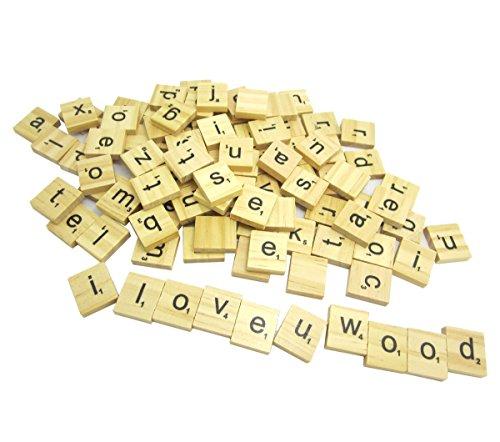 NAMVO 100PCS Hölzerne Scrabble Fliesen Buchstabe Alphabet Scrabbles Zahl Handwerk Englisch Wörter Kleinbuchstaben gemischt
