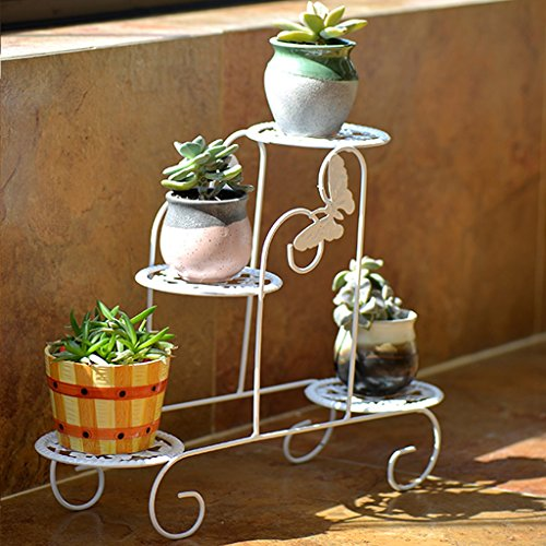 YSS Porta fiori in ferro europeo Mini Fleshy Desktop Pot Rack Assemblati multi-layer soggiorno verde rack piccoli fiori bianchi (senza vasi di fiori) (Colore : Bianca)