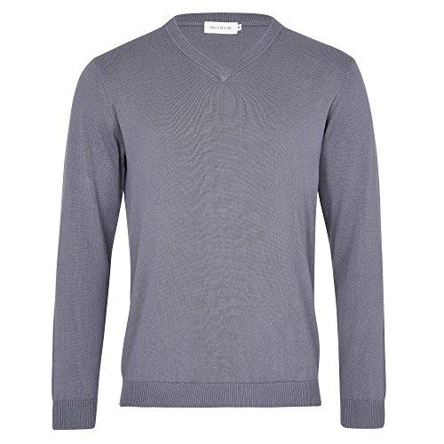 ALLBOW Grauer Herren-Pullover mit Patches, Casual und Business, V-Ausschnitt Grau