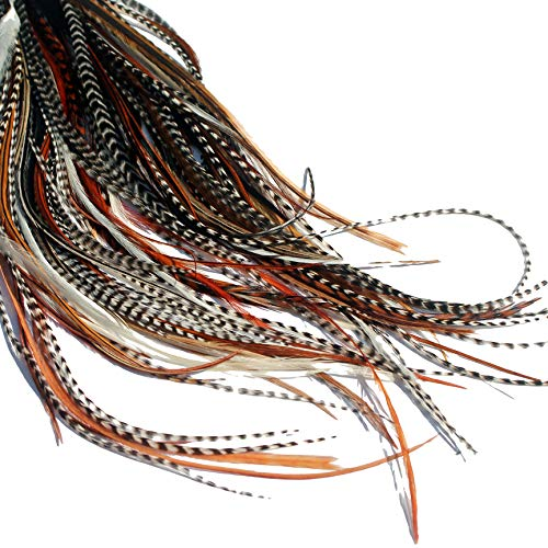 Natürliche Federn für Haarverlängerung, lange Federn mit Ringen & Befestigungsband (B-Klasse), 20 Stück (Weiße Haare, Schwarze Federn Und)