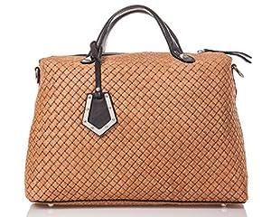 italienische Damen Handtasche Kingston aus echtem Leder in cognac und schoko braun, Made in Italy, Shopper Bag 37x30 cm