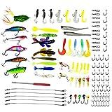 Set di esche da pesca, 111 pezzi, esche artificiali, in plastica, minnow, popper, pencil, crank, campanelli, con ami in metallo, cucchiaino, esche rigide per pesca artificiale, 111Pcs Fishing Lure Tackle