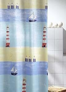 duschvorhang leuchtturm aus textil 180cm breit x 200cm lang ohne ringe k che haushalt. Black Bedroom Furniture Sets. Home Design Ideas