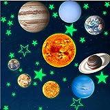 Autocollant Lumineux du Système Solaire,Autocollants Décoratifs Brillent Dans la Chambre des Enfants,Fluorescent Sticker Mural Les Planètes Décoration Pour 9 Pièces