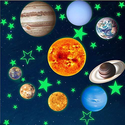Leuchtender Wand Aufkleber mit 9 Planet Sonnensystem Muster,Glänzend Wandaufkleber in der Nacht,Leuchtende Tapeten für Kindergarten Klassenzimmer Kinderzimmer babyroom -