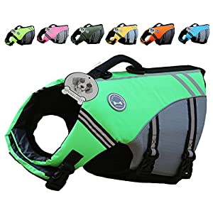 VIVAGLORY New Sports Style Ripstop Dog Life Jacket with Superior Buoyancy & Rescue Handle 16