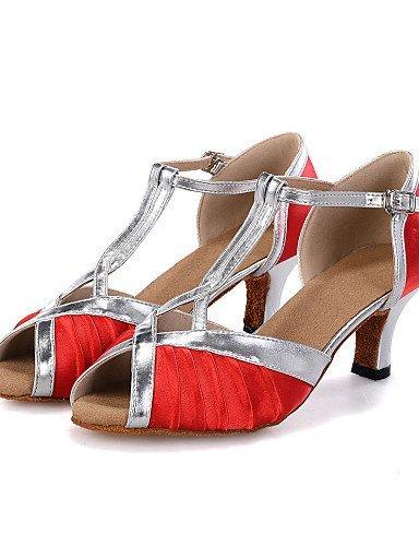 ShangYi Chaussures de danse(Bleu / Jaune / Rouge) -Personnalisables-Talon Bobine-Satin / Similicuir-Ventre / Latine / Jazz / Baskets de Danse /