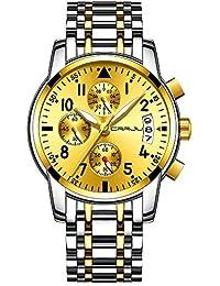 SBDONGJX Relojes multifuncionales con Esfera Azul para Hombres, Relojes de Pulsera de Acero Inoxidable y