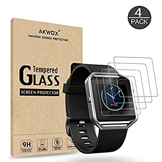 (Pack of 4) Tempered Glass Screen Protector for Fitbit Blaze, Akwox [0.3mm 2.5D High Definition 9H] Premium Clear Screen Protective Film for Fitbit Blaze