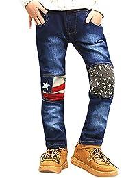 Niños Pantalones Recto De Chándal Vaqueros Con Cintura Elástica