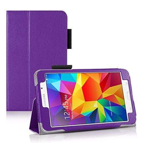 Invero® Premium Hülle Ledertasche umfasst Ständer Feature, Displayschutzfolie und Eingabestift Kugelschreiber für Samsung Galaxy Tab 4 7,0 Zoll SM T230 T231 (Lila / Purple) - Case Galaxy Tab Lila 2 Samsung