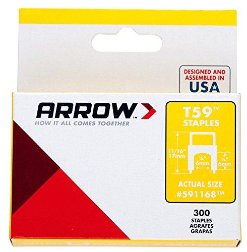 Arrow 031031 591168 Boîte de 300 Agrafes isolantes 6 x 6 mm pour Agrafeuse T59