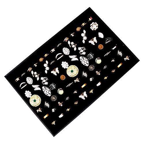 Kurtzy Schmucklade Ringkasten - Ringe, Manschettenknöpfe und Ohrringe Organizer für Schmuck Aufbewahrung und Präsentation - 34,5x 23,5 x 3 cm - Elegant Black Velvet Lined Halter oder Stand