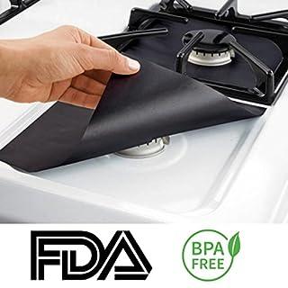 techsmile Gas Range Displayschutzfolie 4Pack–Herd Displayschutzfolie, Brenner, Herd, ein Herd Liners wiederverwendbar einfach reinigen nicht-Stick (10,5x 10,5) FDA genehmigt