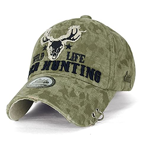 ililily WILD LIFE DEER HUNTING Embroidery Eyelet Ring Trim Cotton Baseball Cap Trucker Hat , Olive Drab