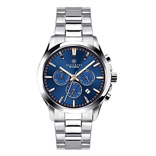 Accurist Men's Quartz Watch with Blue Dial Chronograph Display and Silver Stainless Steel Bracelet 7202