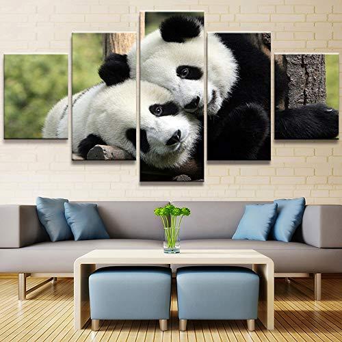 GLZBD Stampeequadrisutela Tela Pittura Immagini 5 Pezzi Panda Animale Bella Creativo Wall Art Prints Modulare Poster per Soggiorno Decorazione della Casa