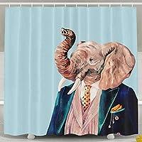 Setyserytu Mr Elephant Shower Curtain Custom Waterproof Fabric Shower Curtain Sets Decoration - 60x72inch for Women and Men Bathroom Accessories