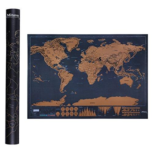 Mappa da Grattare Mitavo Premium, Carta geografica da grattare, Scratch Map per bambini e adulti, la cartina da grattare nel robusto tubo per la conservazione / cilindro regalo Mappa del mondo da grattare con raschietto !