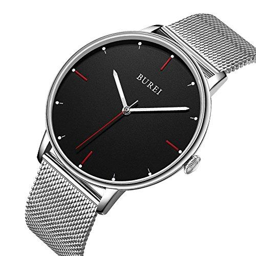 BUREI Montre Unisexe Ultra Mince et Minimaliste Montres-Bracelets avec Cadran Grand Format et Date, Calendrier (Argent-S)