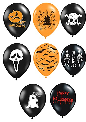 Partynelly 8X Luftballon Halloween | 8 Verschiedene Designs | Deko Halloweenparty | Set
