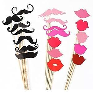 Foxnovo 44-en-1 verres DIY Moustache lèvres rouges noeuds papillon chapeaux sur des bâtons, anniversaire de mariage fête Photo Booth Props