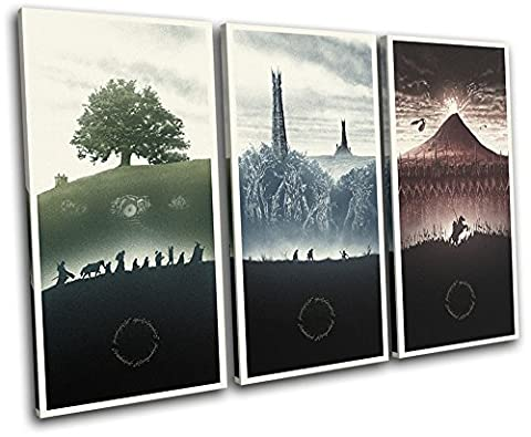 Bold Bloc Design - Lord of the Rings Movie Greats 120x80cm TREBLE Canvas Art Print Box Framed Picture Wall Hanging - Hand Made In The UK - Framed And Ready To Hang