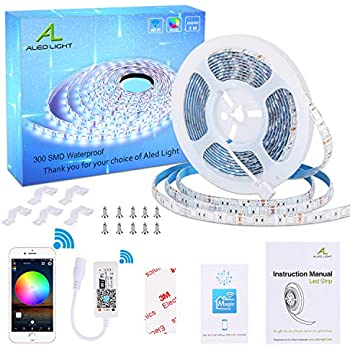WiFi LED Strip Lights, ALED LIGHT Waterproof 5050 5 Meter SMD 300 LED Rope Lights Smart-Phone APP Controlled RGB Intelligent LED Band Light Work with Alexa, Google Home for Home Outdoor Decoration