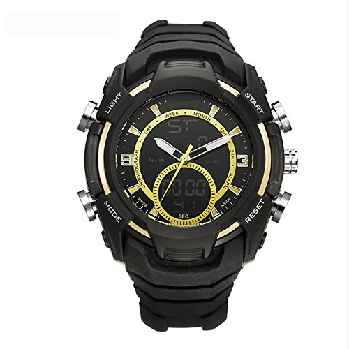 MIAO Outdoor Mens Multi-Functional Dual-Motion 50 Meter wasserdicht elektronische Uhr mit 24-Stunden-Anleitungen/Woche Display/Alarm/Kalender/Chronograph/month Display , yellow (Uhr Shock Electric Alarm)