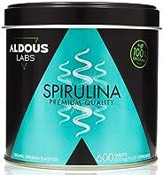 Espirulina Ecológica Premium para 9 Meses | 600 comprimidos de 500mg con 99% BIO Spirulina | Vegano - Saciante
