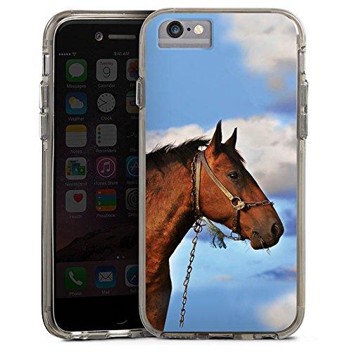 Apple iPhone 6s Plus Bumper Hülle Bumper Case Glitzer Hülle Horse Pferd Hengst Bumper Case transparent grau