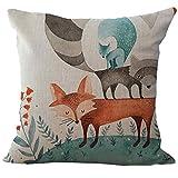 Deloito Quadratische Leinen Fuchs Kissen Sofa Bett Dekoration Tierdruck Kissenbezug (D, 45x45cm)