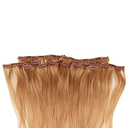 Beauty7 120g Extensions de Cheveux Humains à Clip 100% Remy Hair Haute Qualité #27 Couleur Blonde Doré Longueur 60 cm