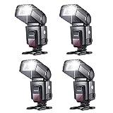 Neewer® TT560 4x Blitzgerät Blitz Speedlite Set für Canon Nikon Sony Olympus Panasonic Pentax Fujifilm Sigma Minolta Leica und andere SLR Digital SLR Spiegelreflex-Kameras und Digitalkameras mit Single-Kontakt Blitzschuh Eingenschaft: